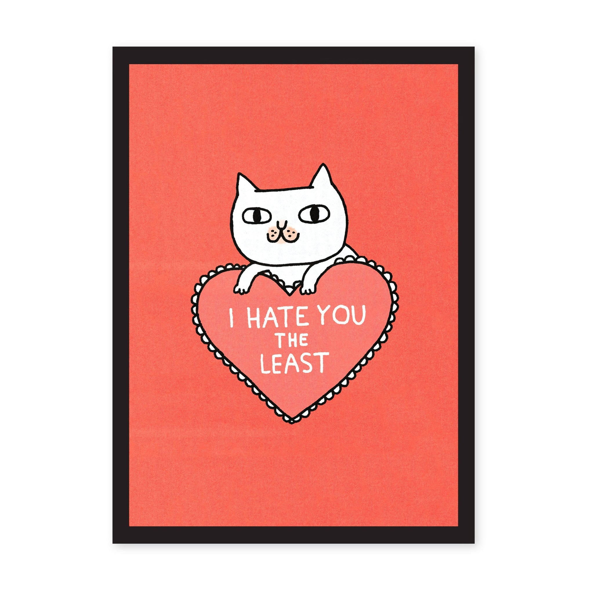 Pink red art print with illustrated white cat, and pink heart with white pun text