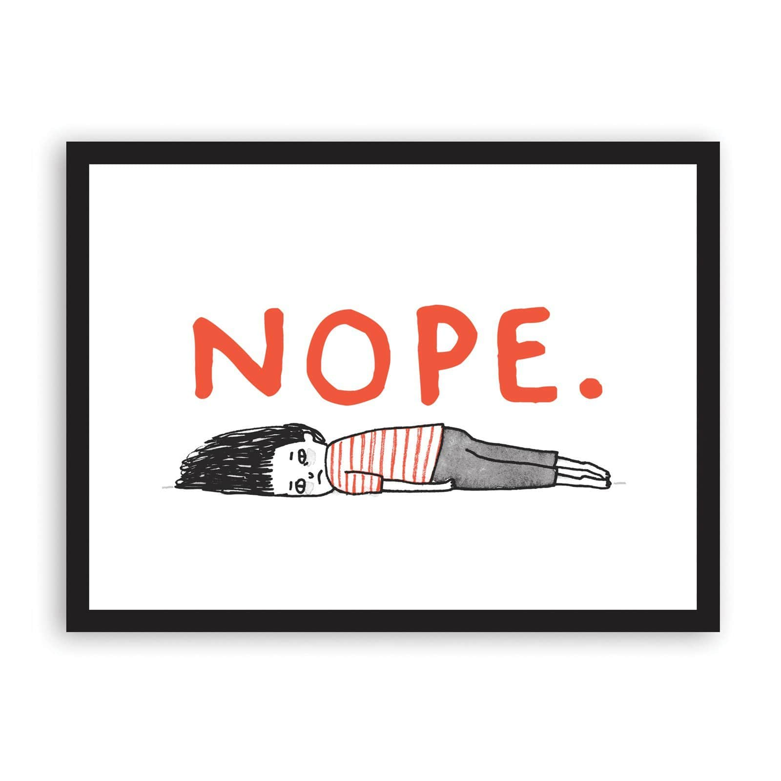 Illustration of girl laying on floor in black and red, with wording Nope in red above