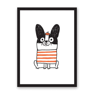 Gemma Correll art print of illustrated dog with beret on and red striped jumper
