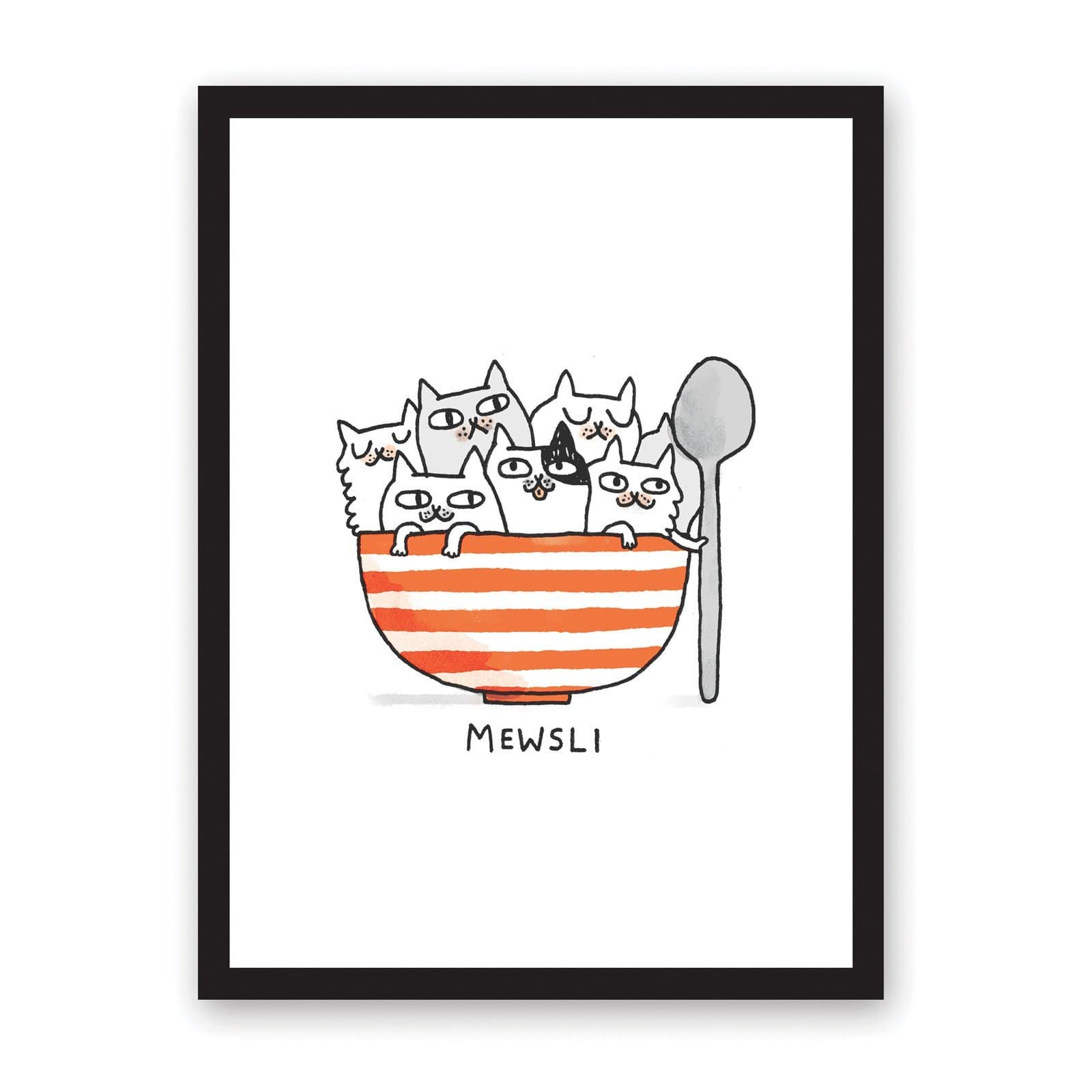 Gemma Correll illustration of striped bowl with kittens inside and holding a spoon, with Mewsli typography