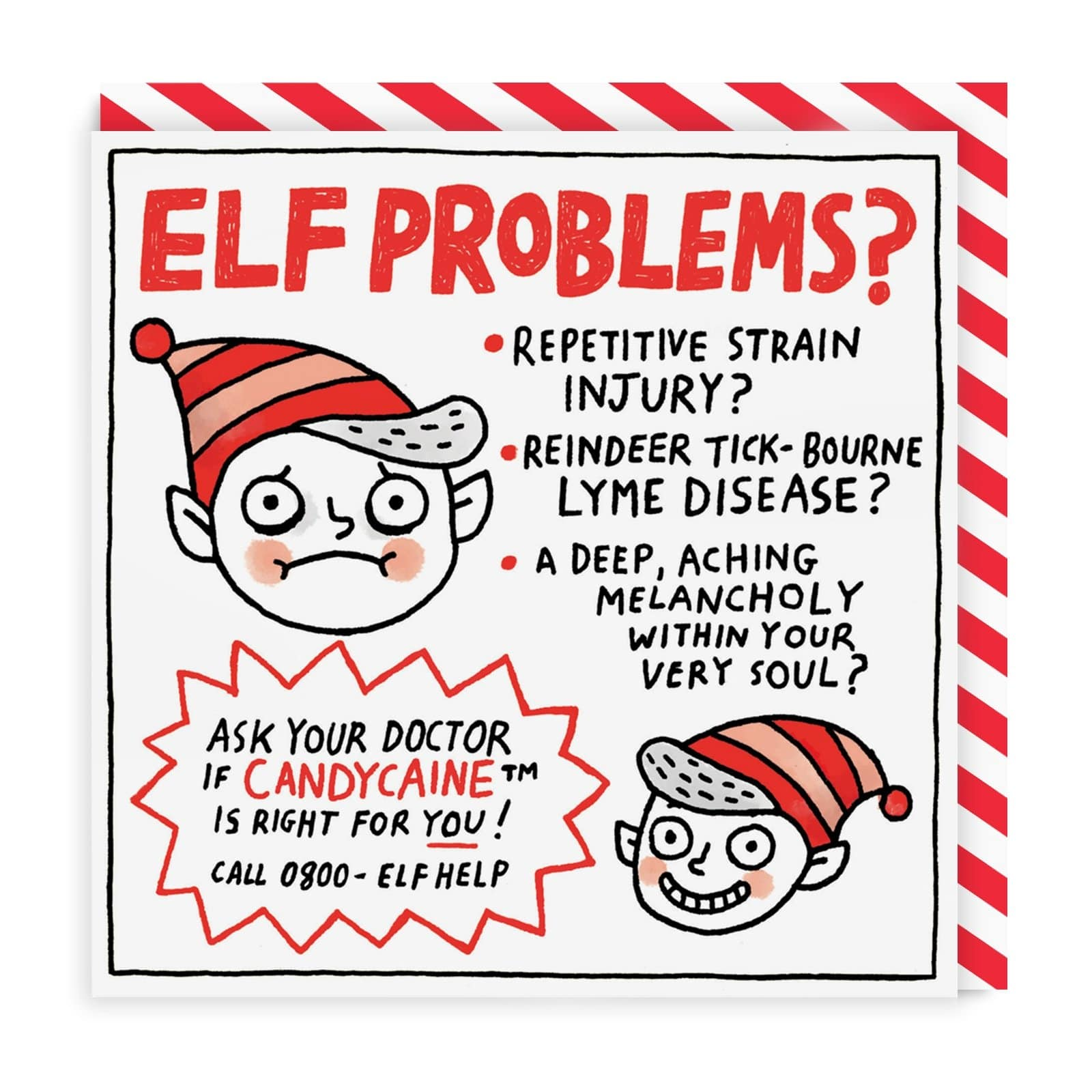 Elf Problems? Square Christmas Card