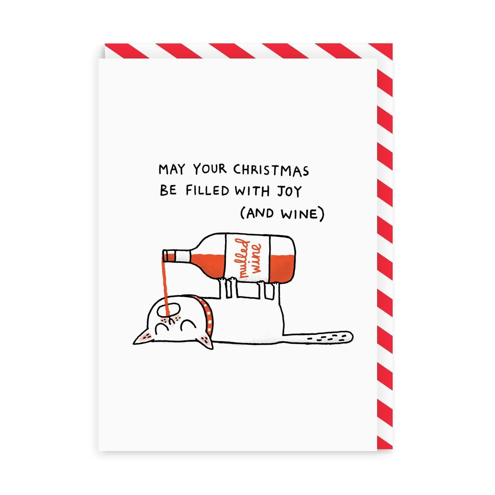 Mulled Wine Cat Christmas Greeting Card
