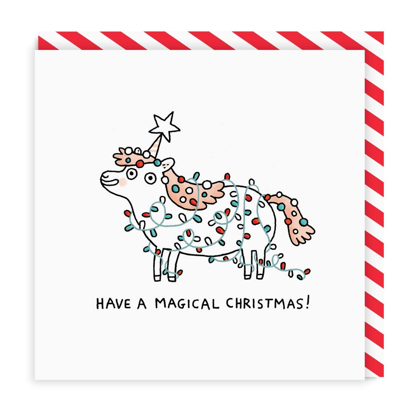 Magical Unicorn Square Christmas Card