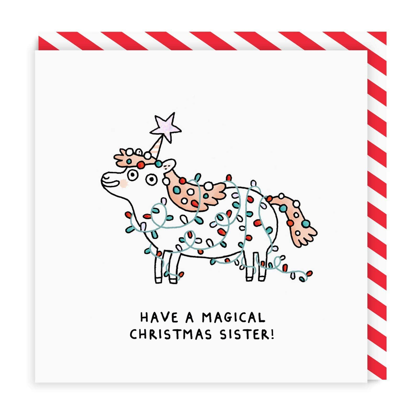 Sister Magical Unicorn Square Christmas Card