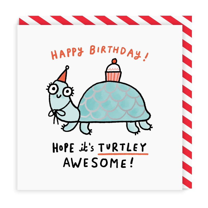 Turtley Awesome Birthday Square Greeting Card