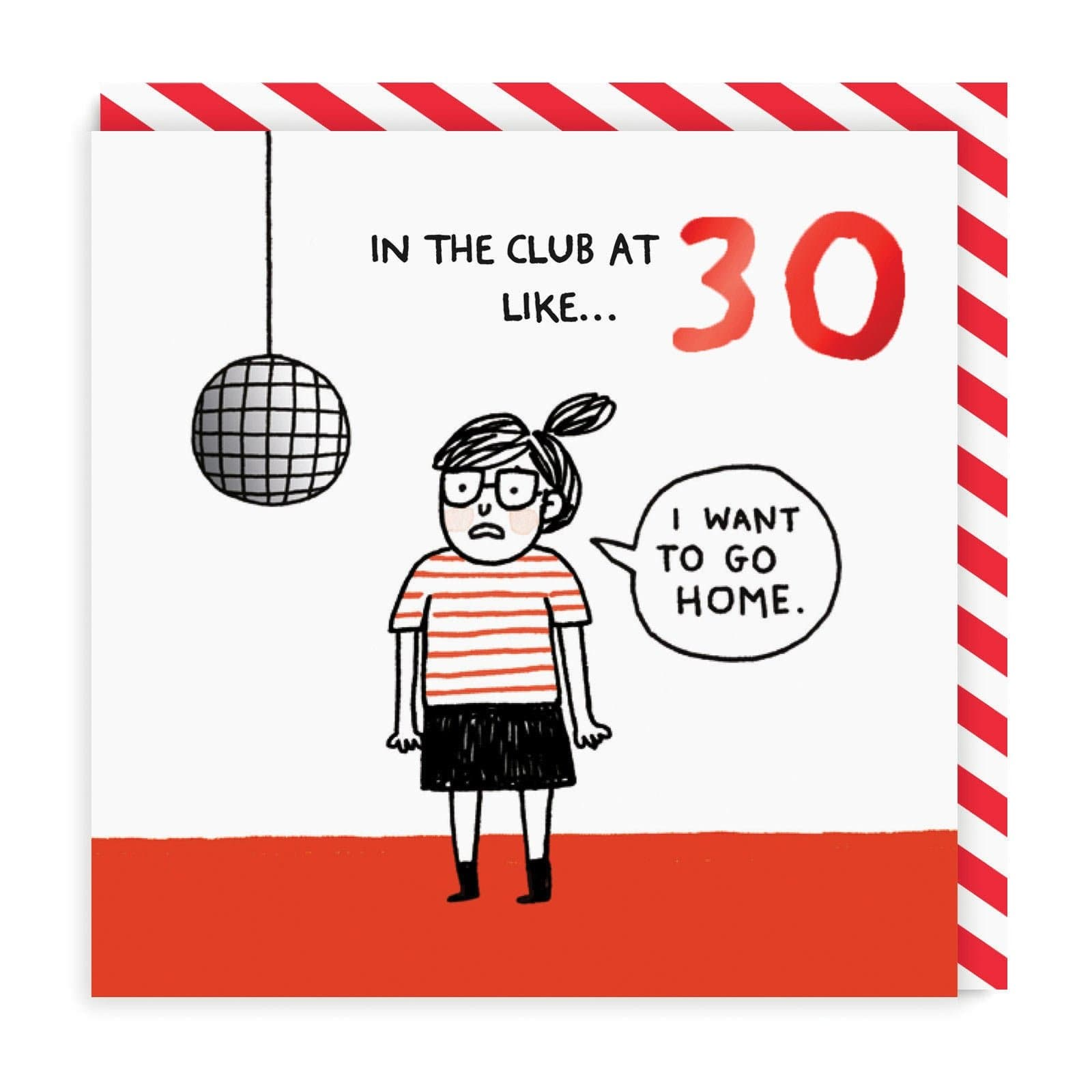 30 birthday card with illustration of girl and disco ball in white, red and black