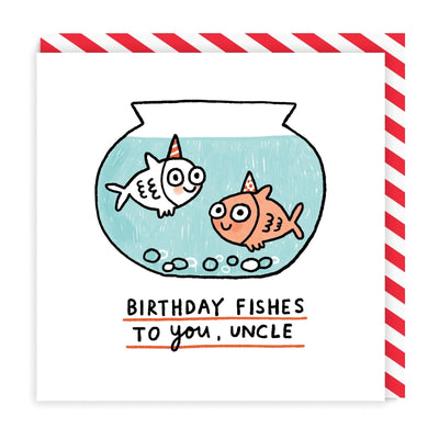 Birthday Fishes Uncle Square Greeting Card