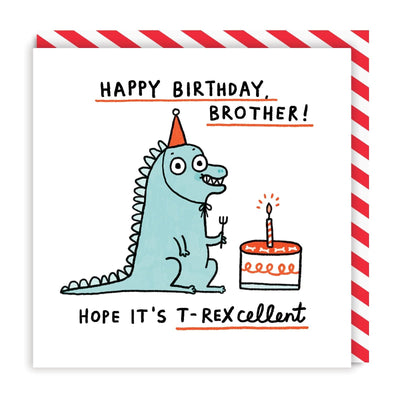 Brother T-rexellent Birthday Square Greeting Card