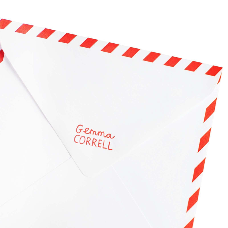 White envelope with Gemma Correll red logo on flap, with red and white border