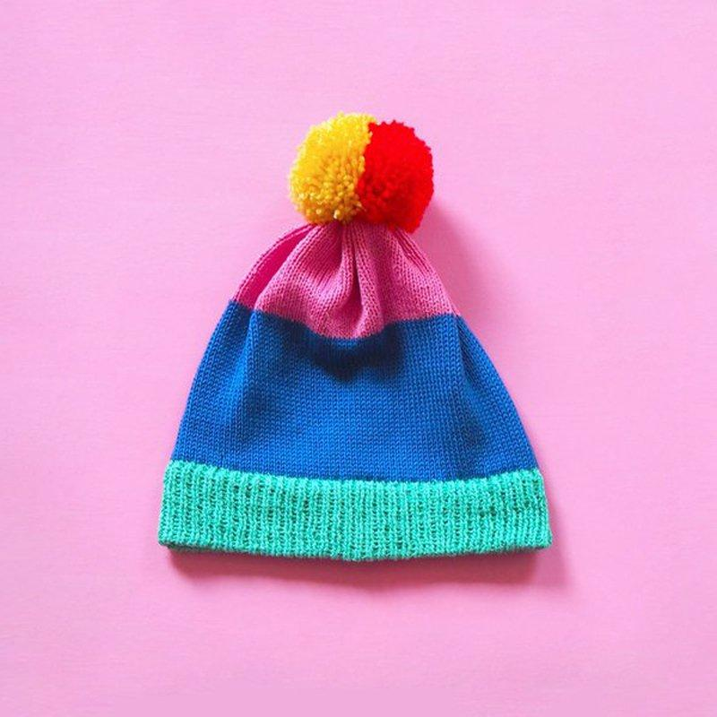 Colour Block Bobble Hat