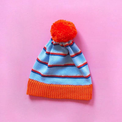Orange and Blue Stripe Bobble Hat