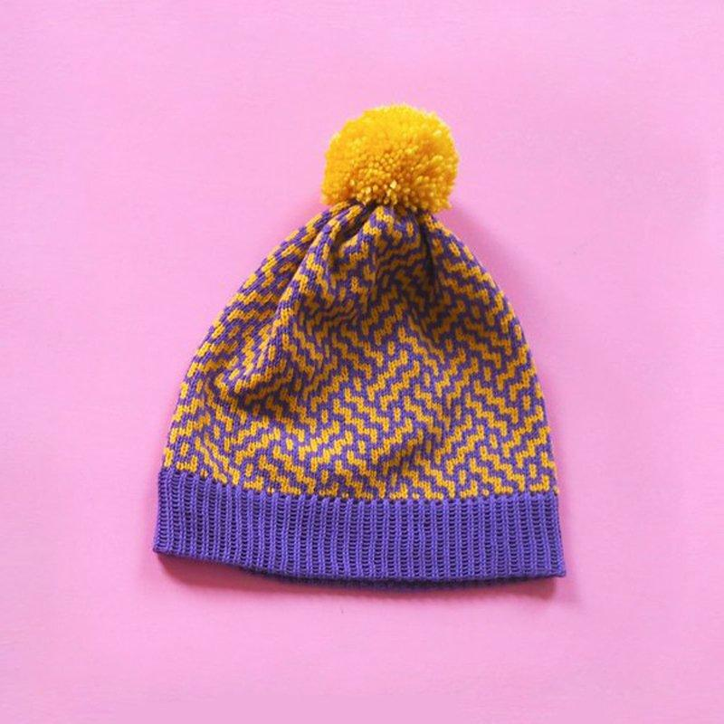 Purple and Yellow Bobble Hat