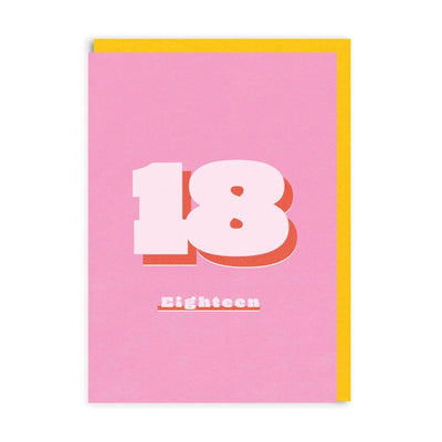 Pink birthday card with 18 letters and yellow envelope
