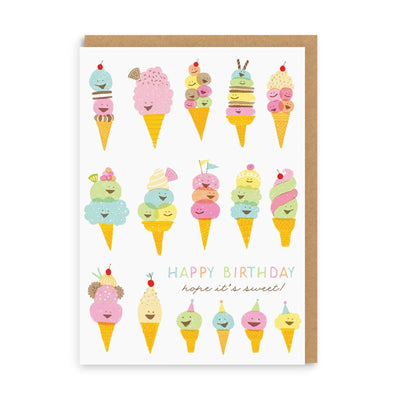 Happy Ice Creams Birthday Greeting Card