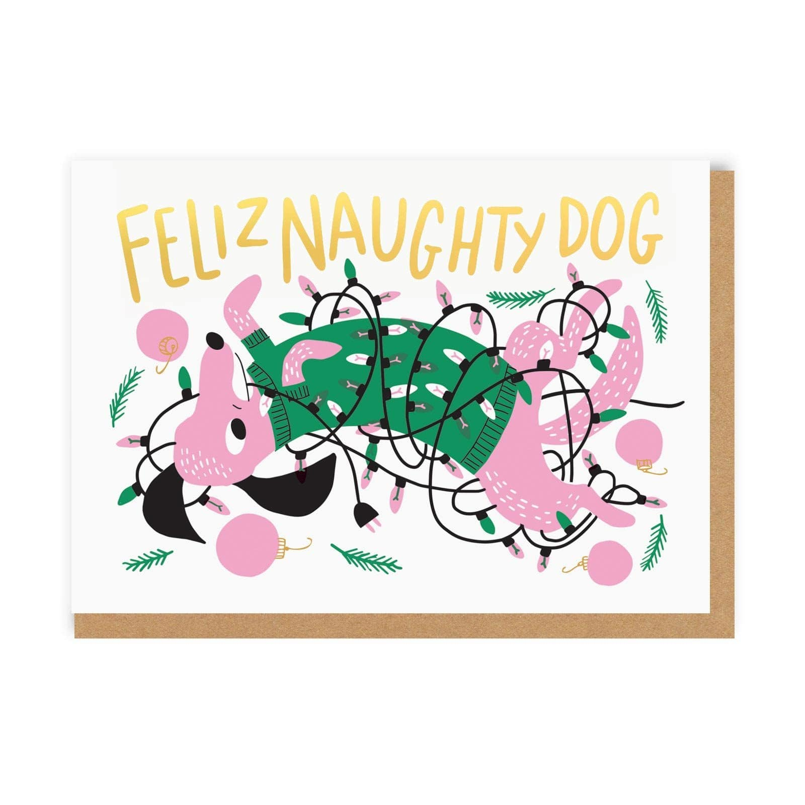 Feliz Naughty Dog Christmas Card
