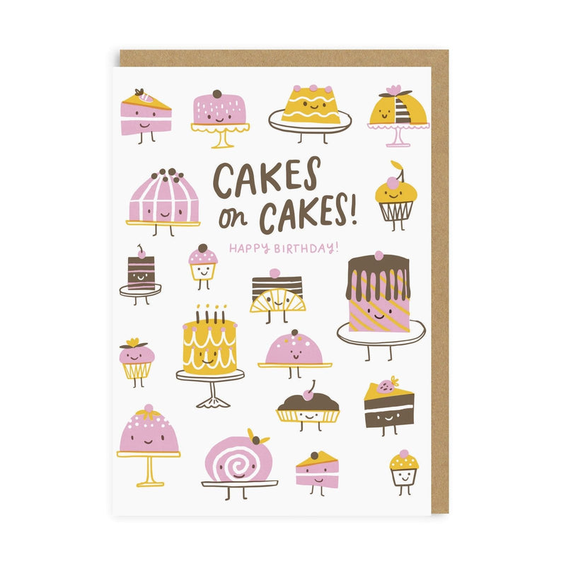 Cakes On Cakes Birthday Greeting Card