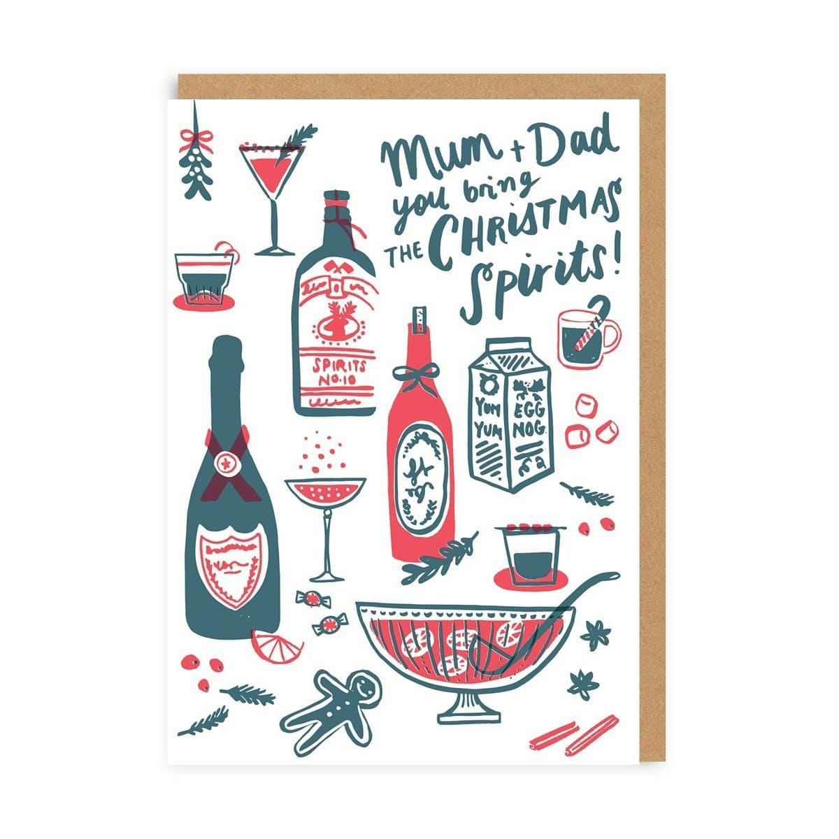 Mum & Dad Christmas Spirits Greeting Card