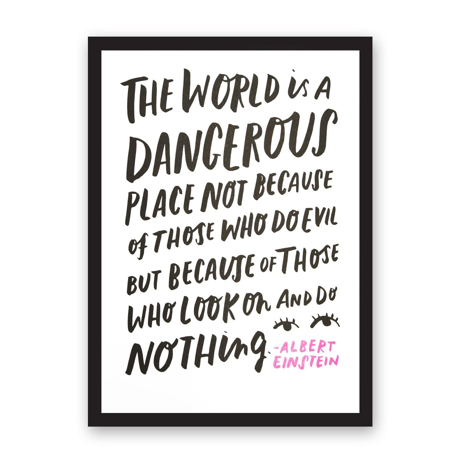 Albert Einstein quote calligraphy art print in black with pops of pink, on white background