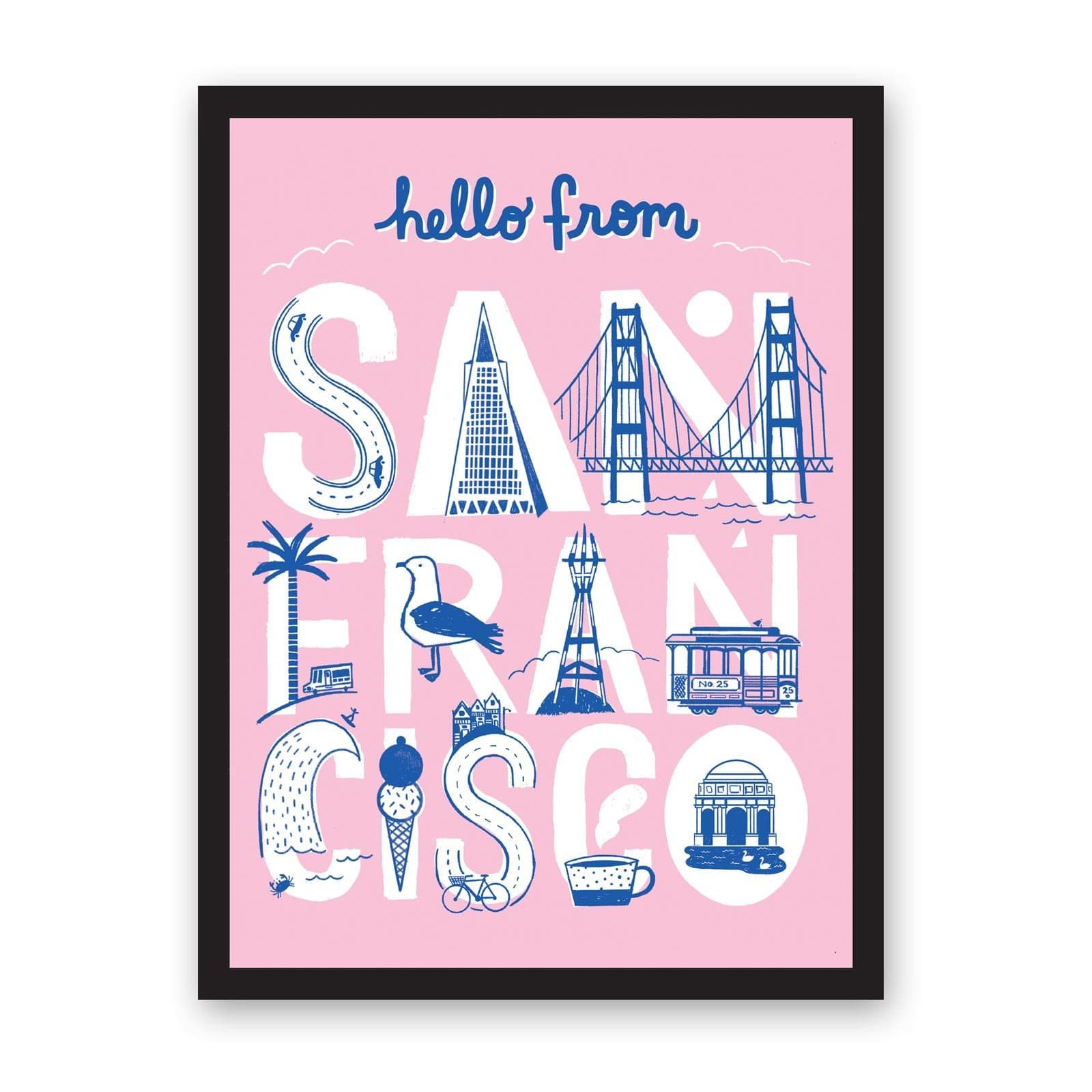 A3 Hello From San Francisco Riso Print