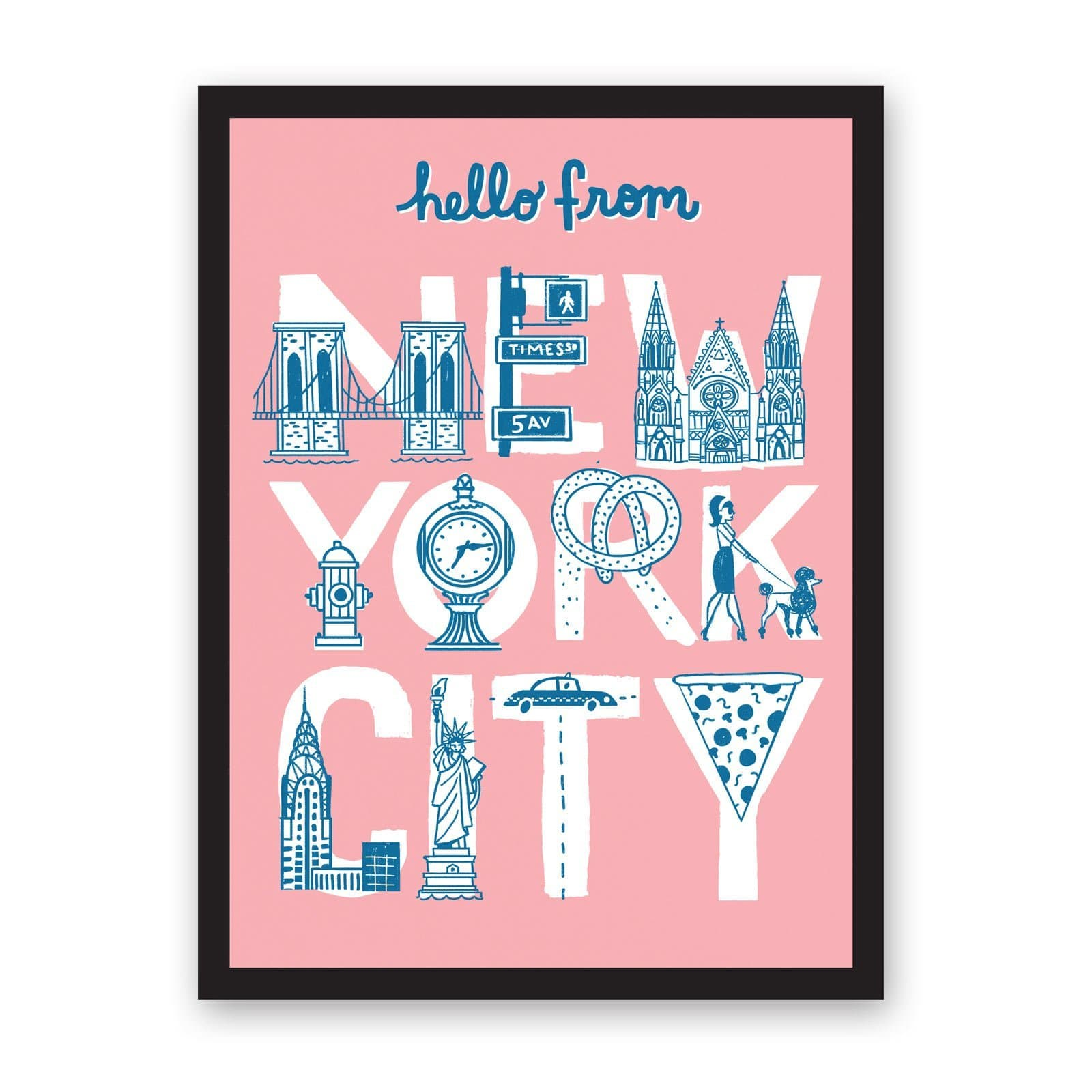 Pale pink art print with New York typography made of food and New York landmarks