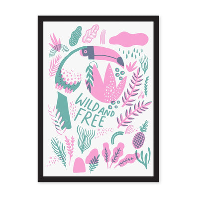 White print with toucan and leaves drawn in pink and green, with Wild and Free green writing