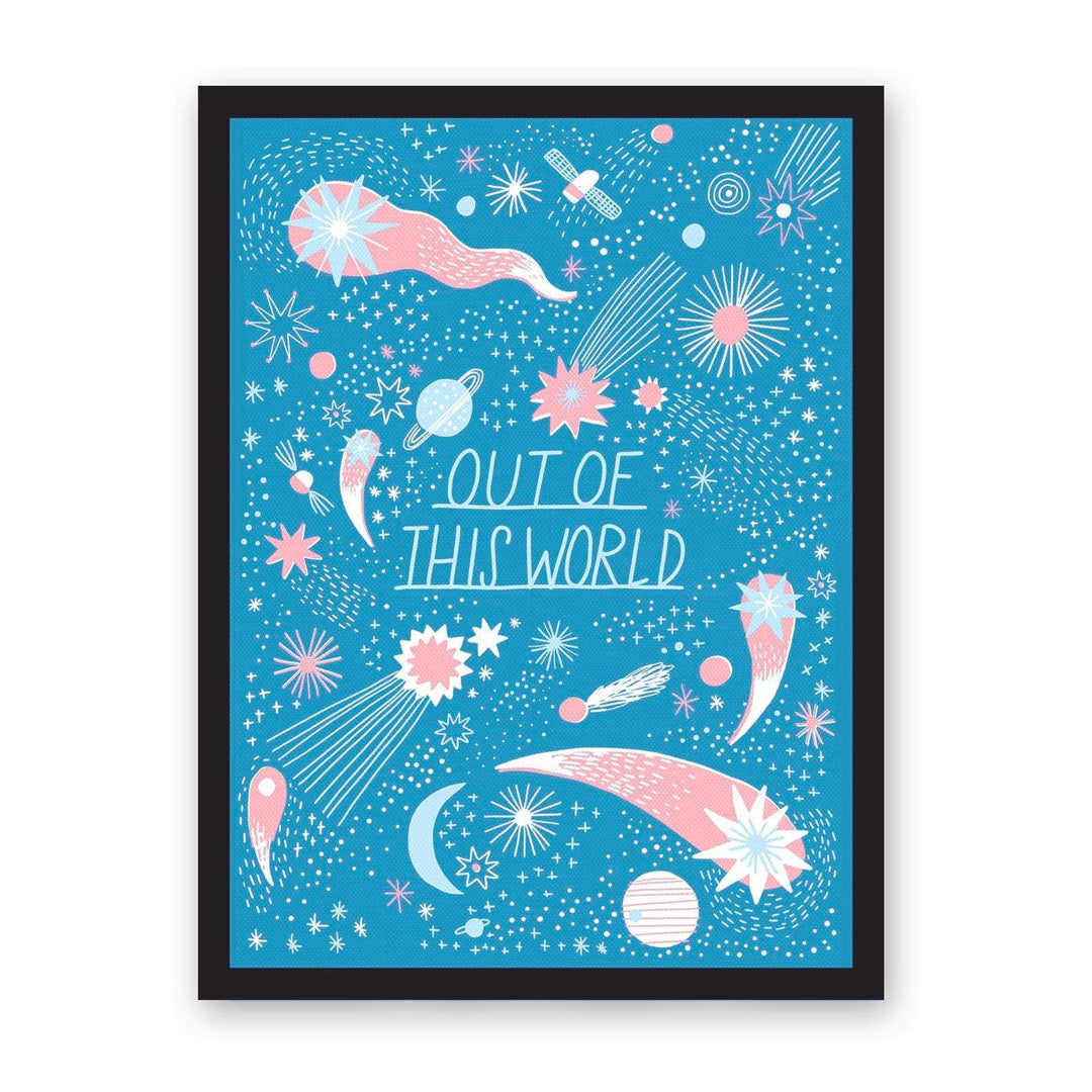 Blue art print with Out of This World typography and stars and constellations illustrations