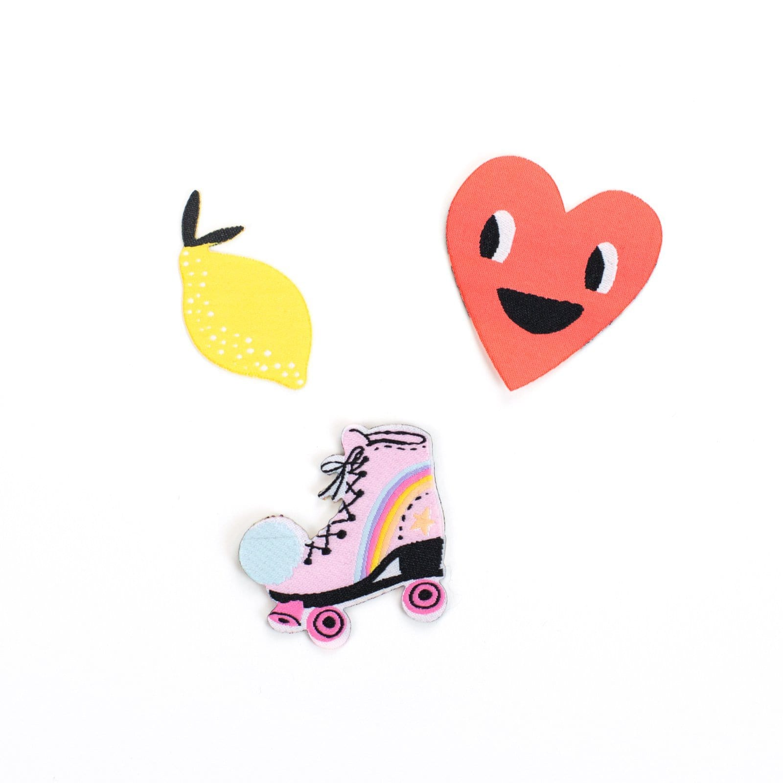 Heart / Lemon / Roller Skate Patch Set