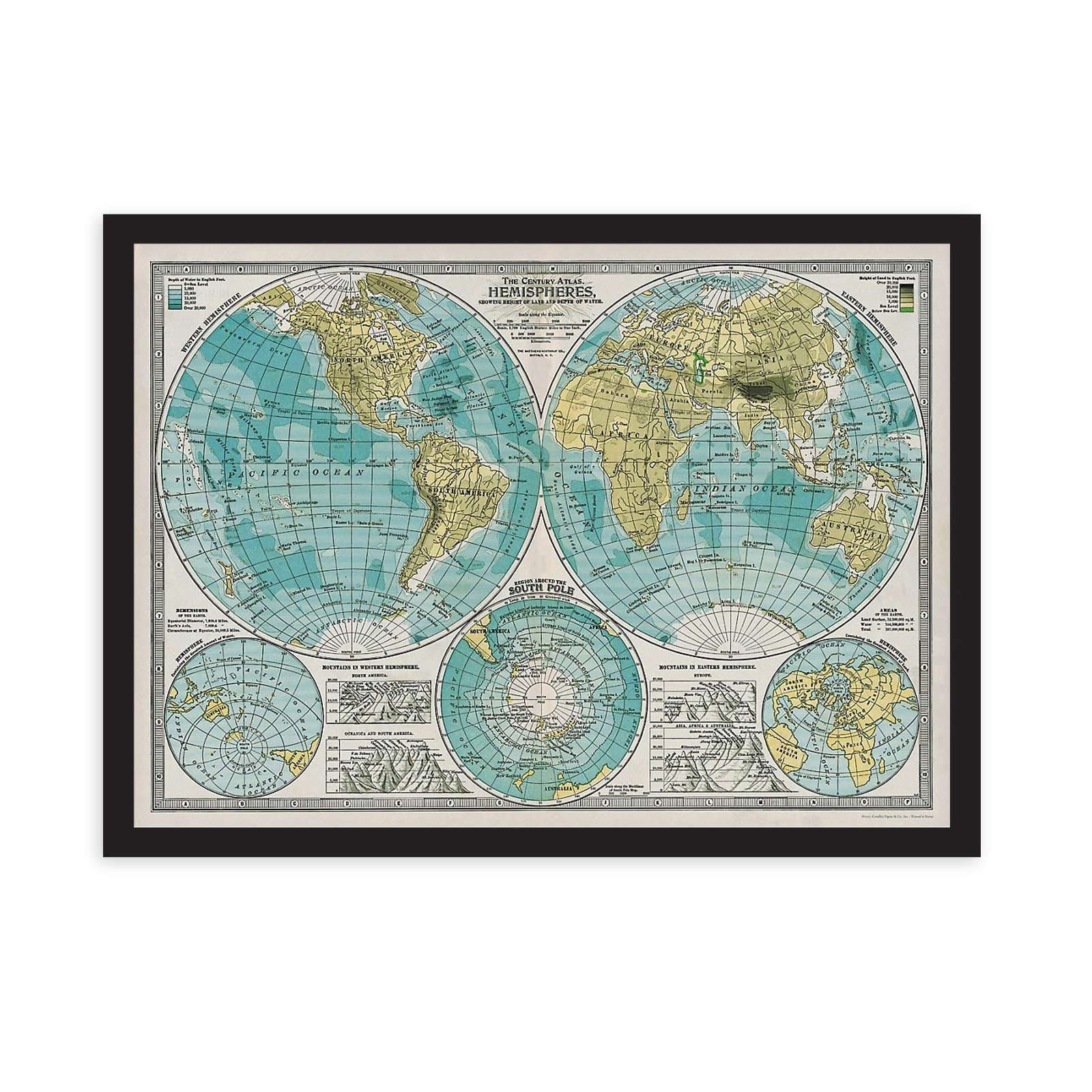 Hemispheres Map Art Print