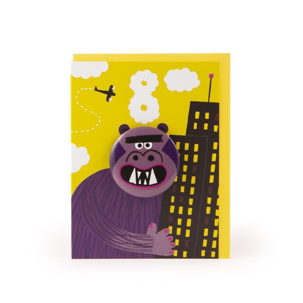 King Kong Badge Greeting Card