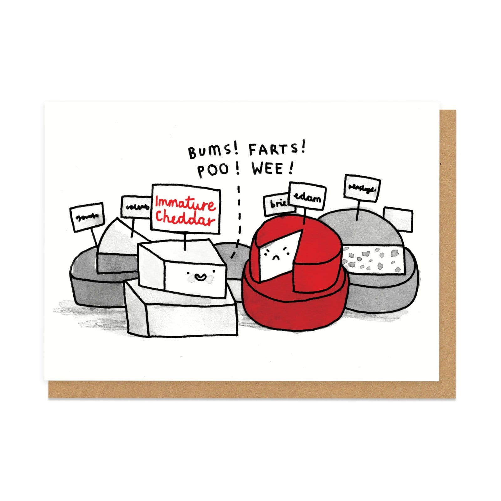 Immature Cheese Greeting Card