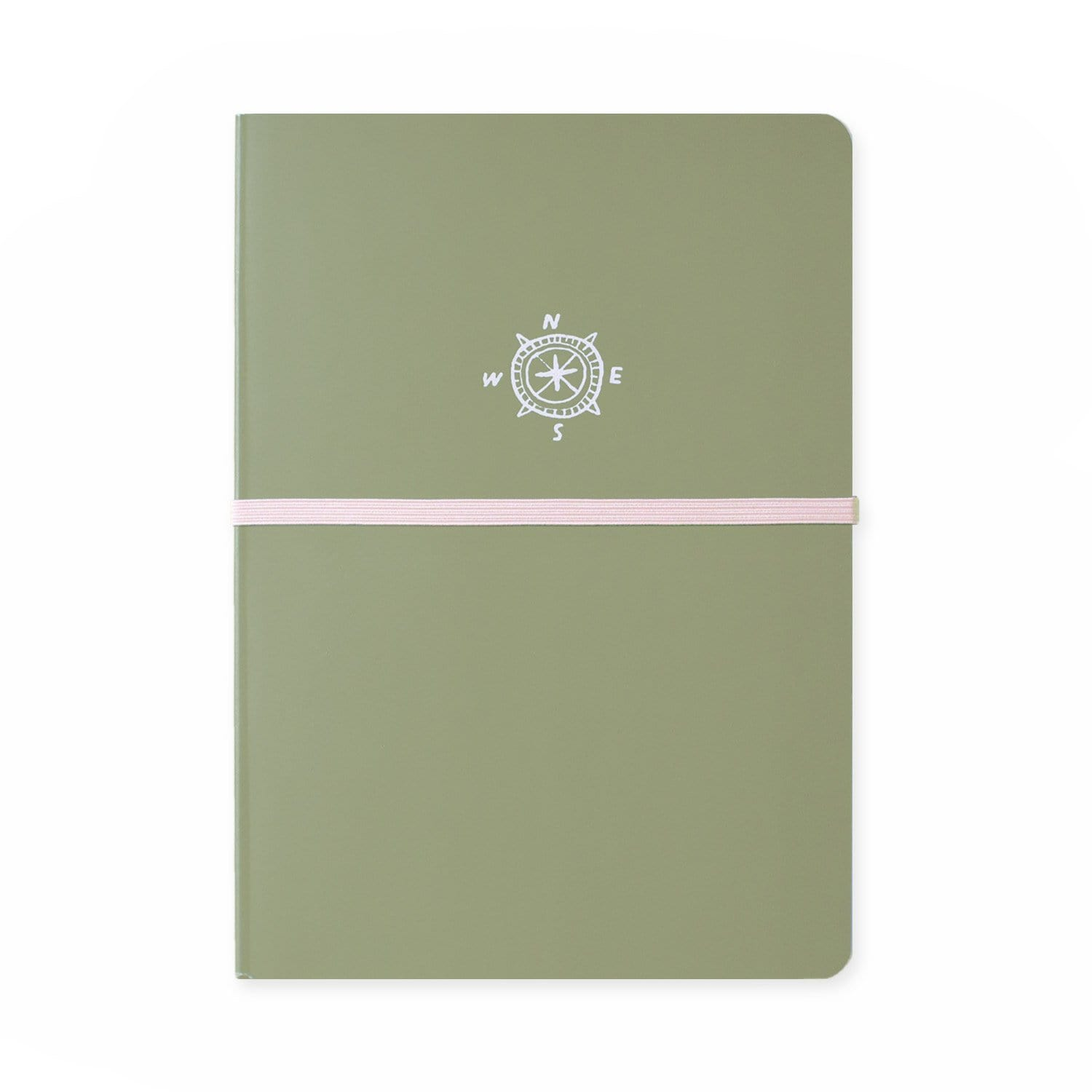 Front of journal with green cover and pink band around centre, with white illustrated compass drawing