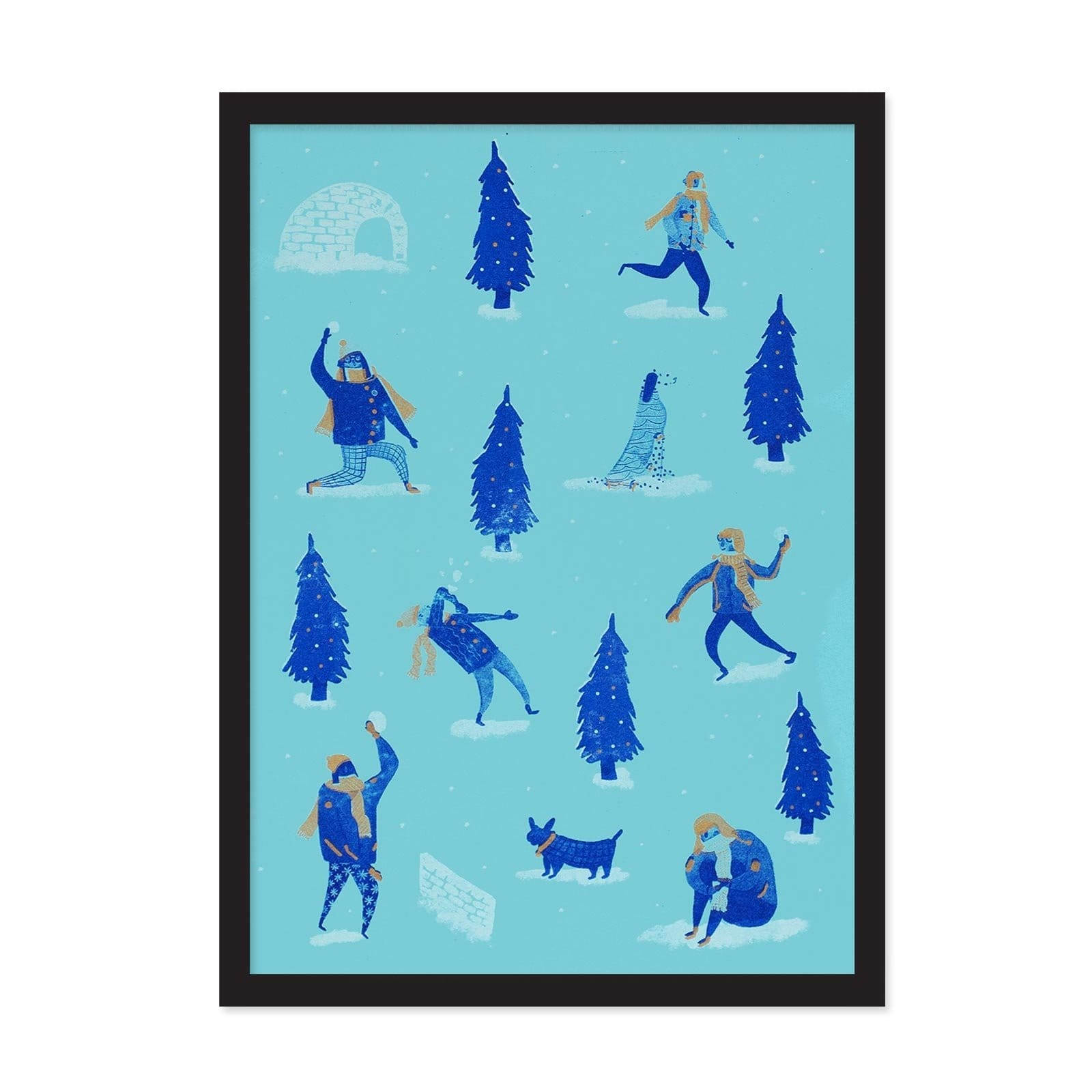 Blue art print with dark blue illustrated Christmas trees and people throwing snowballs