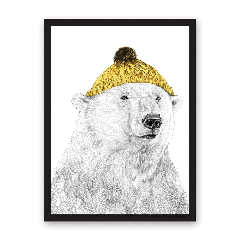 Polar bear drawing in black and grey, with yellow bobble hat on, in black frame
