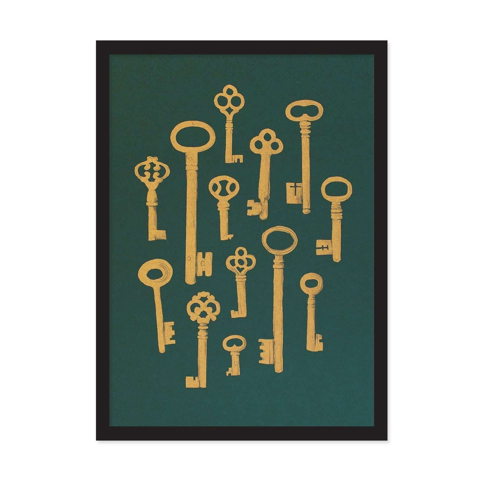 Dark green art print with yellow gold illustrated keys