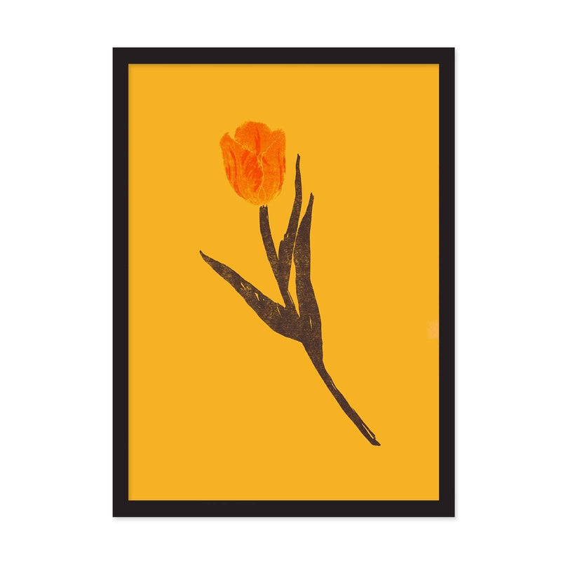 Yellow art print with orange tulip illustration with dark green stem and leaves