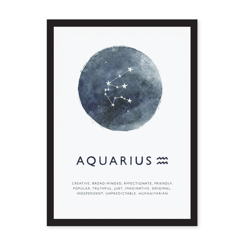 Aquarius zodiac art print with white background and stars on blue circle