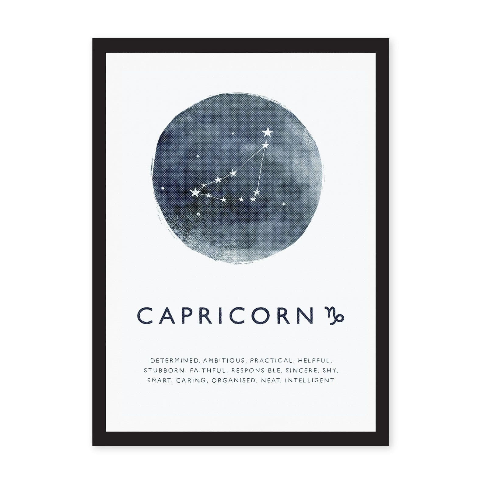 White art print with blue circle and zodiac star sign on, with Capricorn typography and wording
