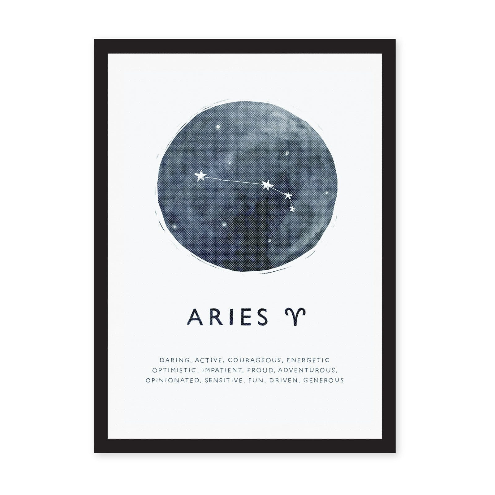 Aries star sign A4 art print with blue background and stars, with black listed words