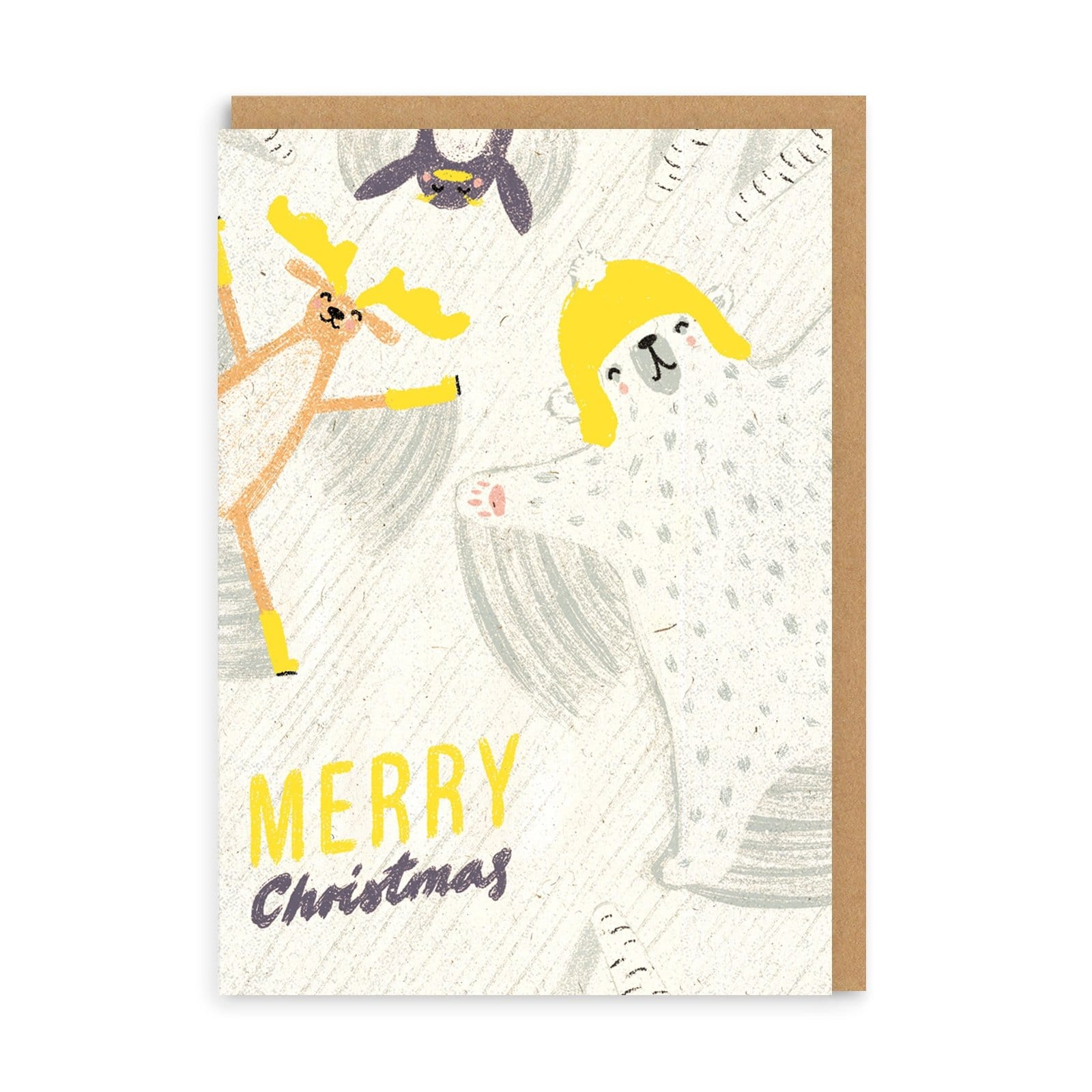 Merry Christmas Polar Bear Snow Angels Greeting Card