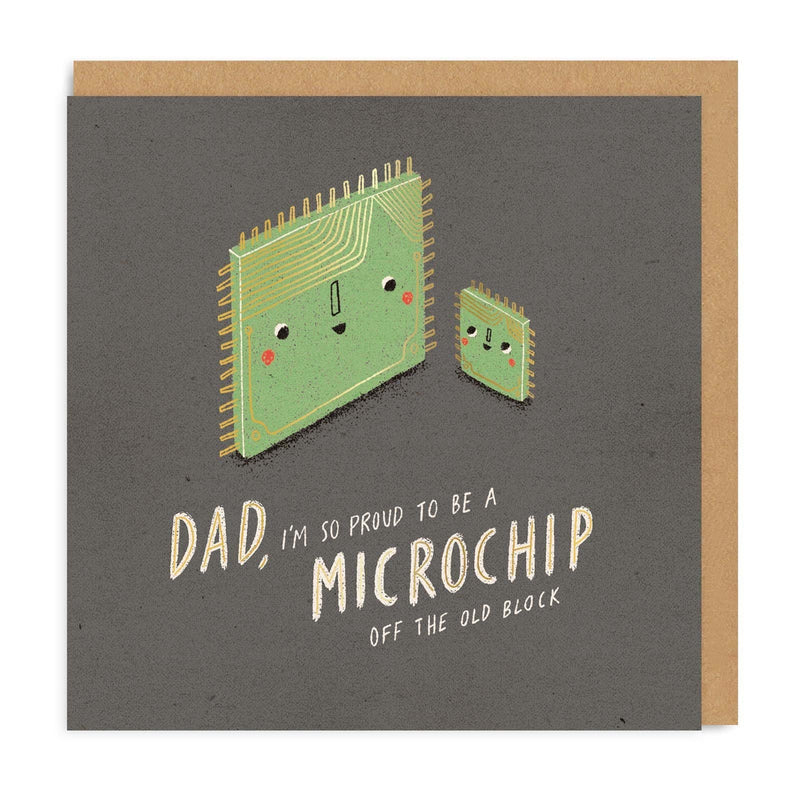 Dad Microchip Square Greeting Card