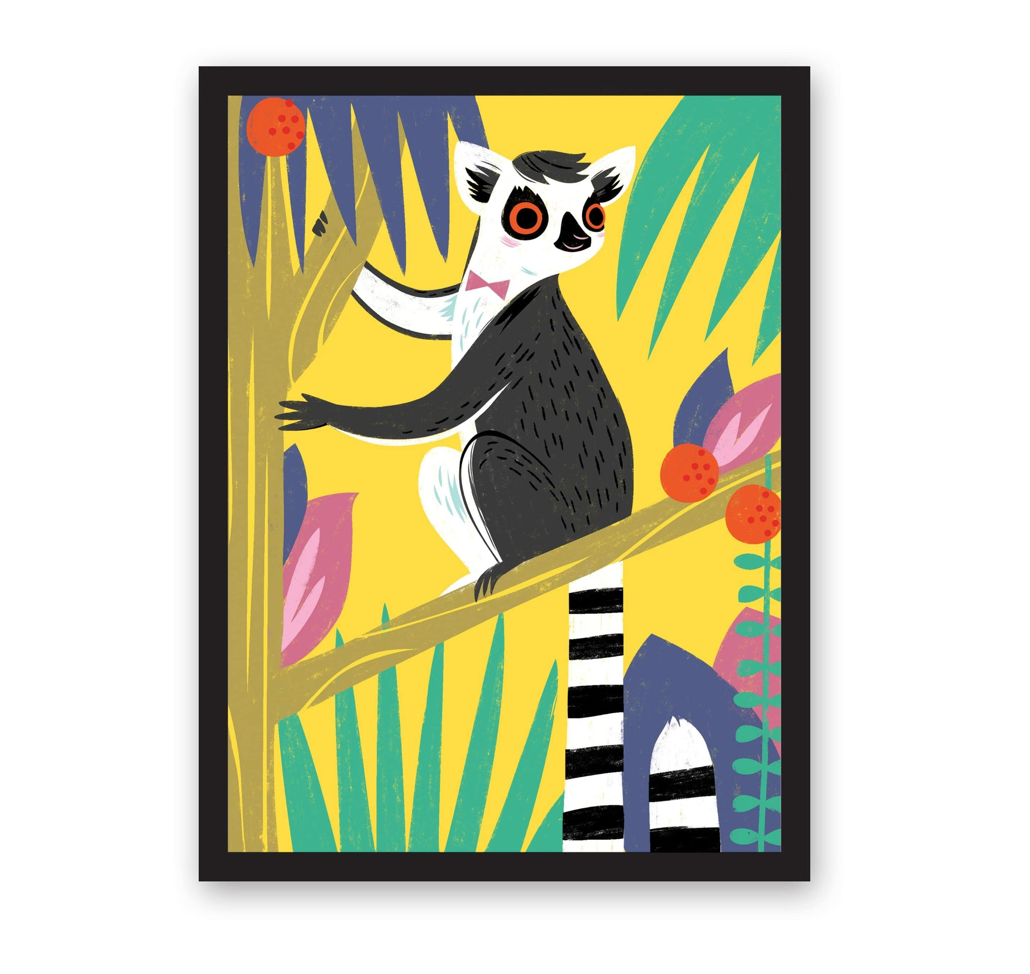 Lemur illustrated print in bright colours and yellow background, with black frame