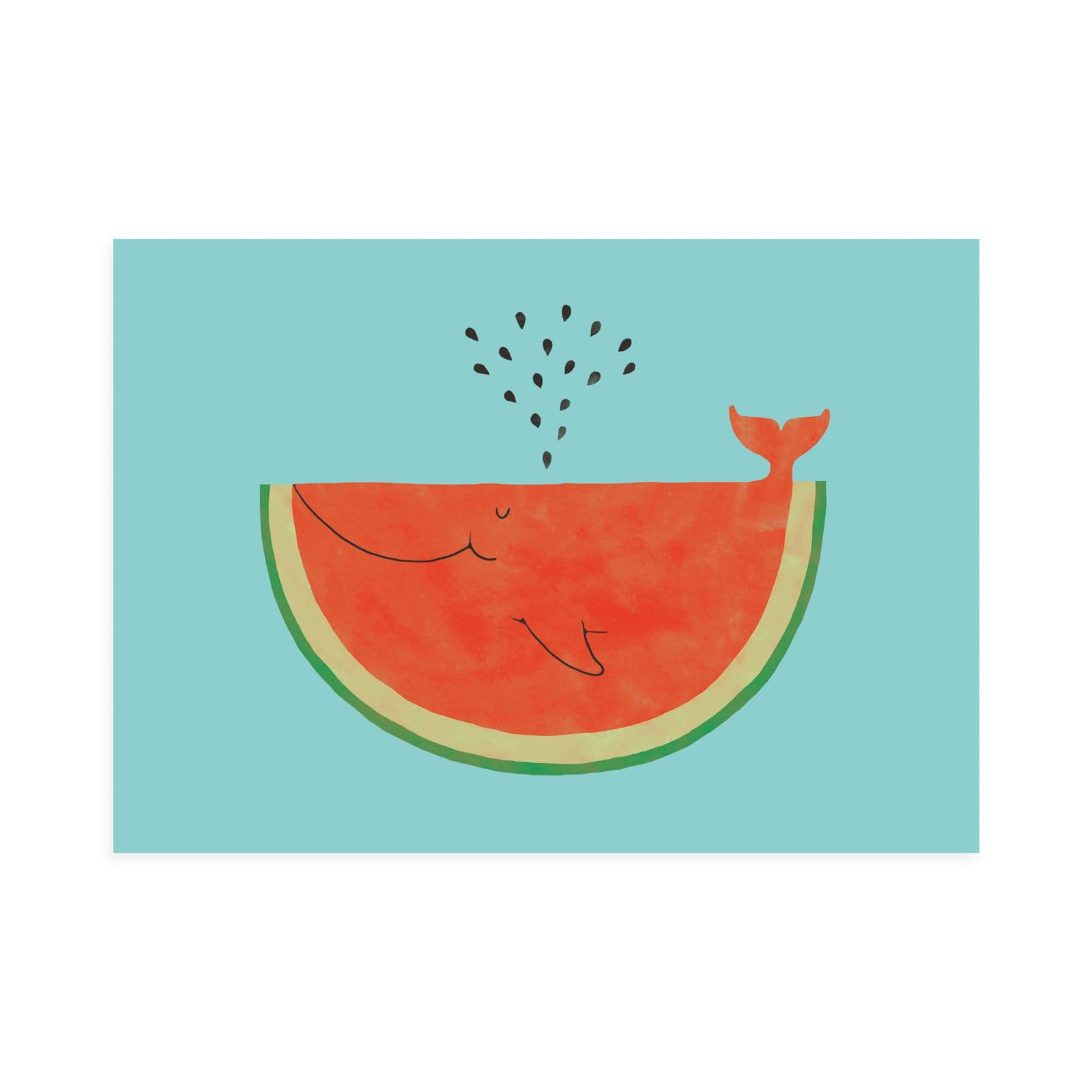 Watermelon Whale Postcard