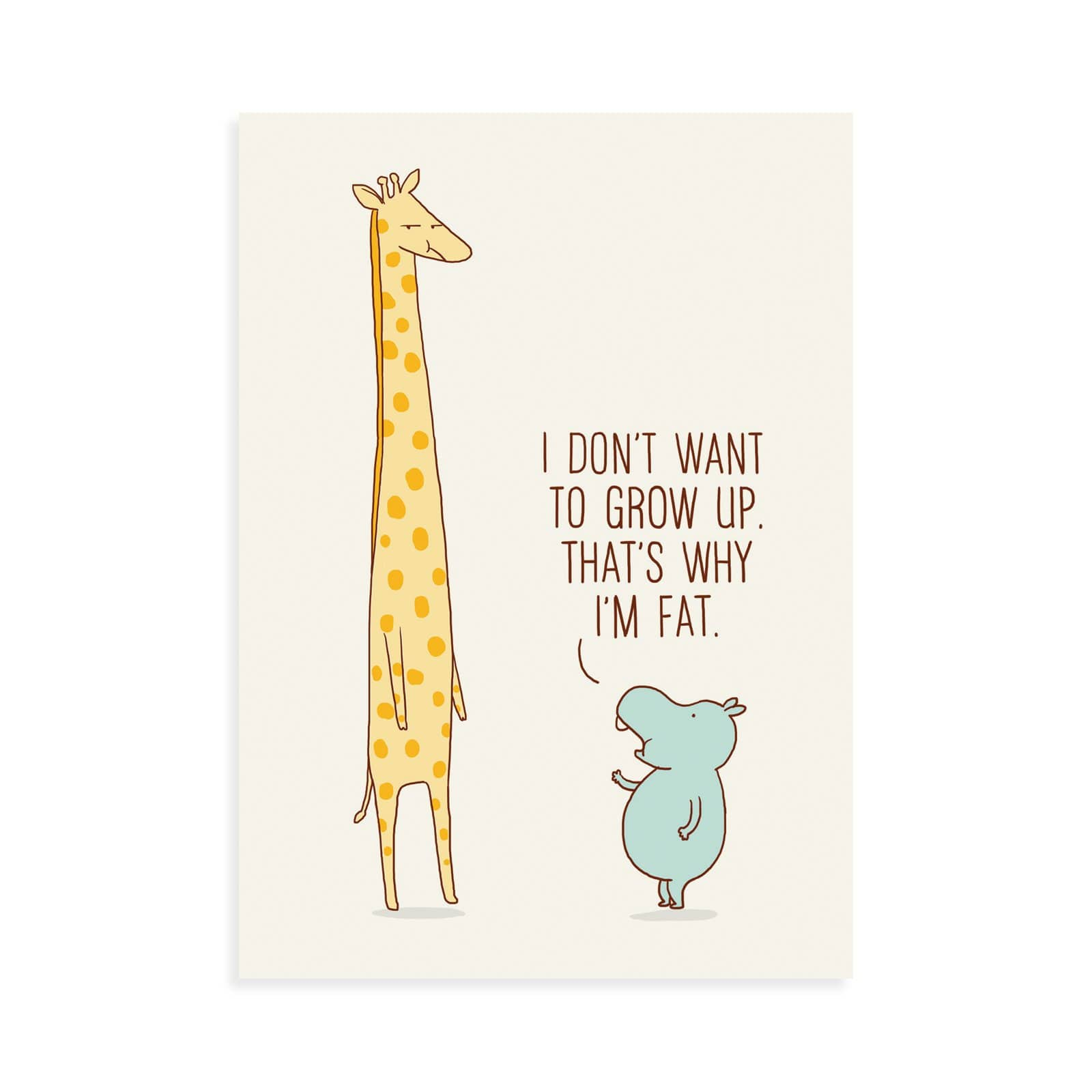 Hippo Grow Up Postcard