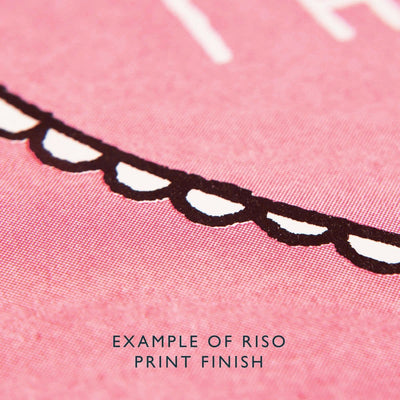 Close up of Riso printed card with pink ink