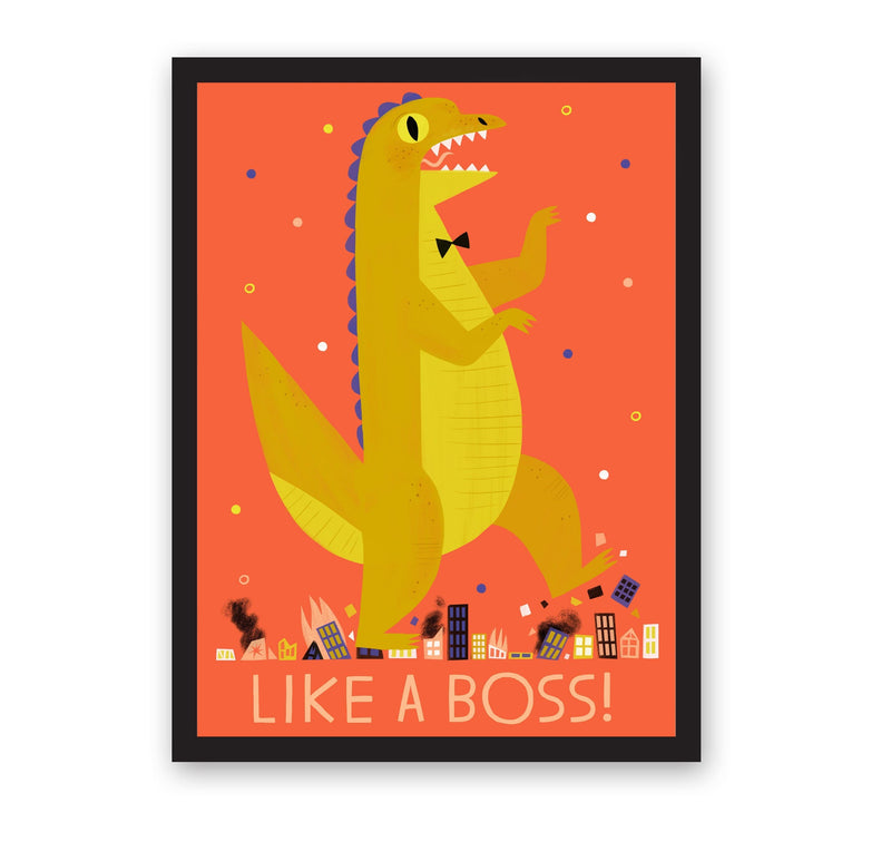 Orange print with green dinosaur illustration with Like a Boss text, in black frame