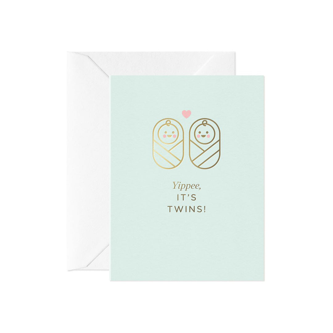 Yippee It's Twins! New Baby Card