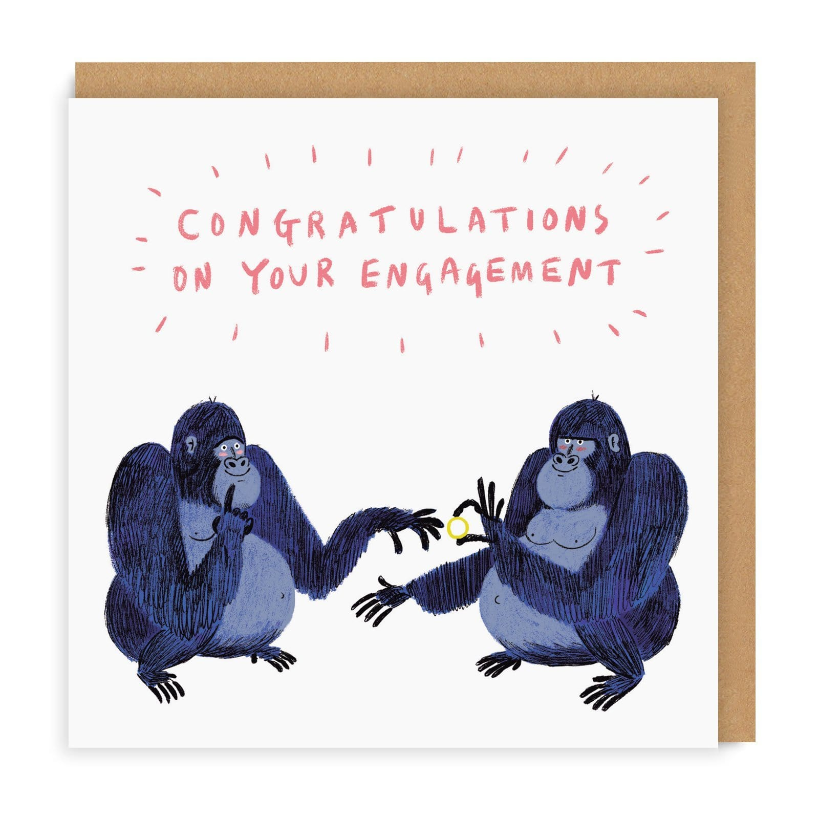 Engagement Gorillas Greeting Card