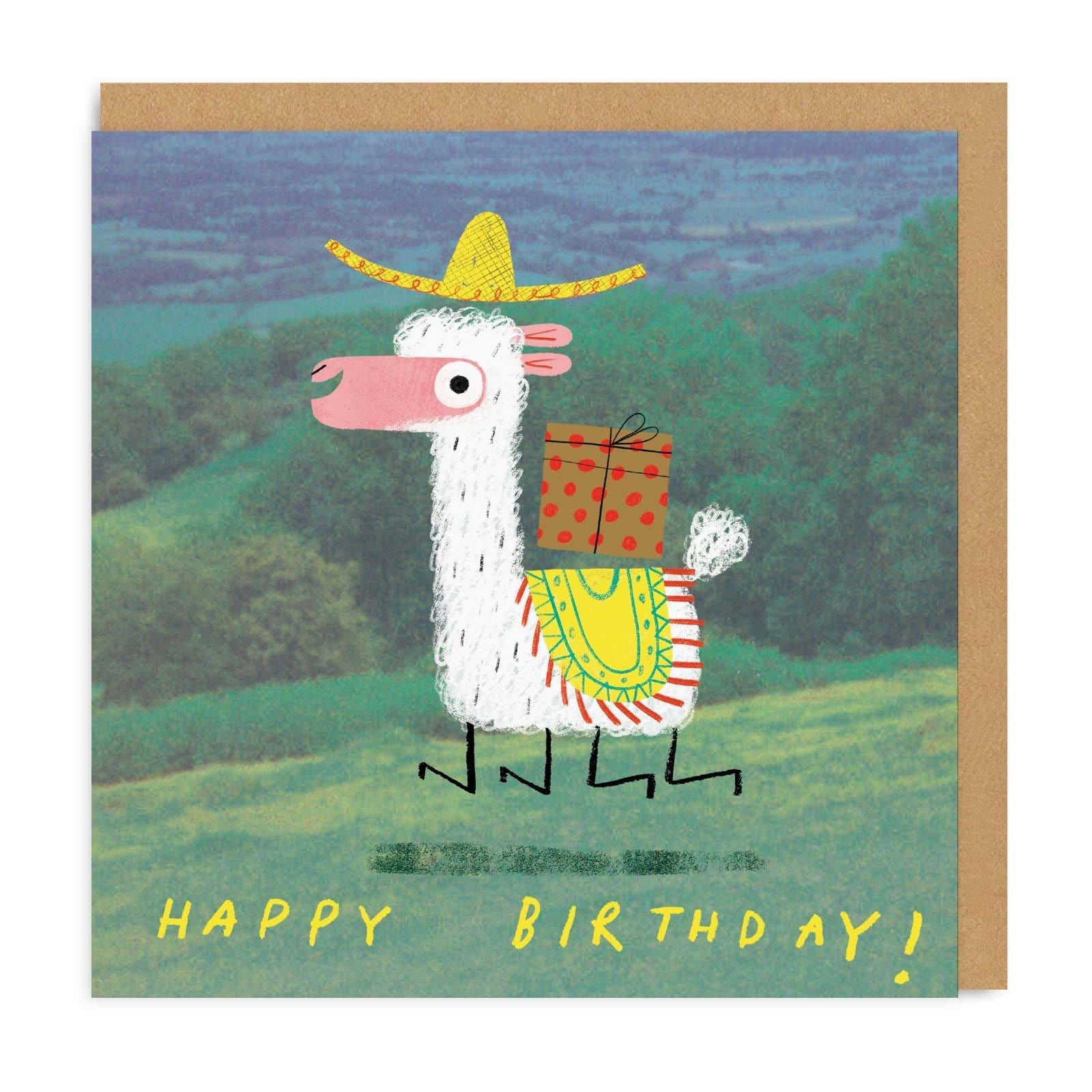 Square Birthday card with illustrated Alpace with hat on carrying present, with forest in background