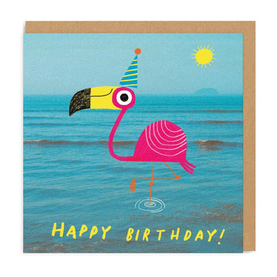 Flamingo Square Greeting Card