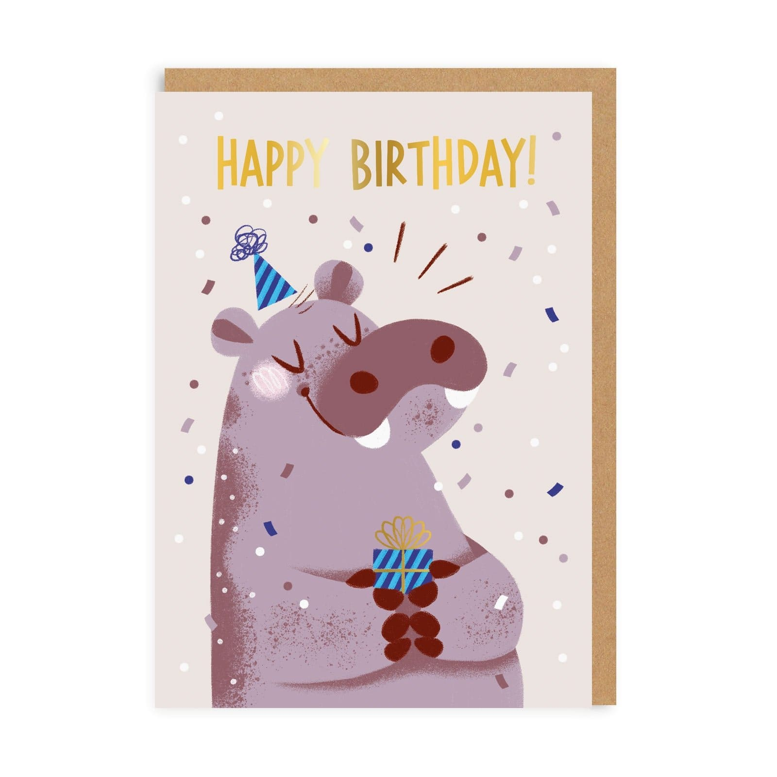 Happy Birthday Hippo Greeting Card